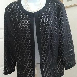 Lightweight cotton black polka dot jacket